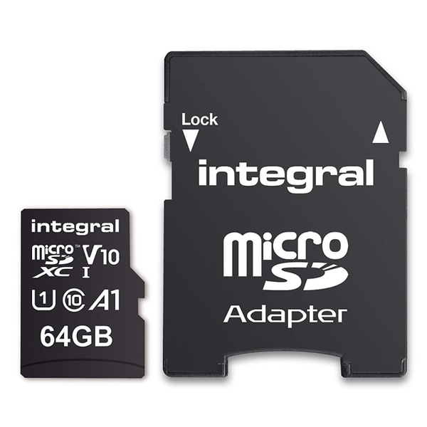 Micro SD Card 64GB with SD Adapter - Class 10