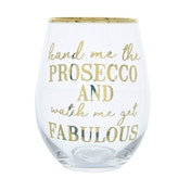 Glass Tumbler Hand Me The Prosecco Gold Electroplated 12cm