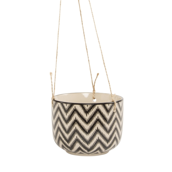 Sass & Belle Black Geo Zinnia Hanging Planter