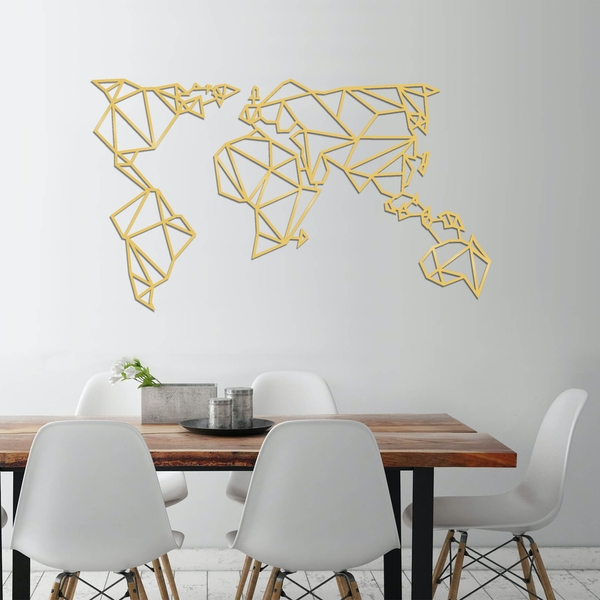 World Map Metal Decor 4 - Gold Gold Decorative Metal Wall Accessory