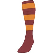 Precision Hooped Football Socks Boys Maroon/Amber