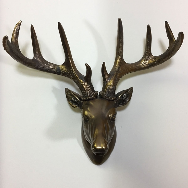 Large Deer Head Cold Cast Bronze Wall Sculpture 31cm