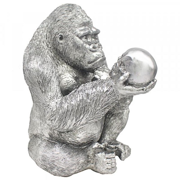 Silver Art Gorilla Thinker Ornament