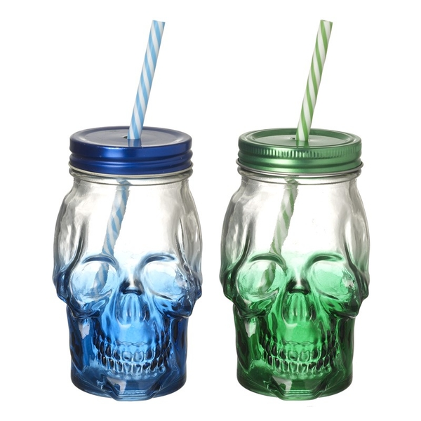 Skull Jars with Straw by Heaven Sends (2 Pack)