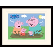 Peppa Pig - Pig Family Muddy Puddle Mounted & Framed 30 x 40cm Print