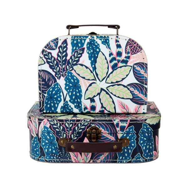 Sass & Belle (Set of 2) Variegated Leaves Suitcases