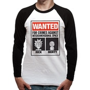 Rick And Morty - Wanted Poster Men's Medium Baseball T-Shirt - White