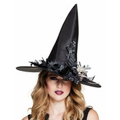 Skulla Witch Hat with Flowers