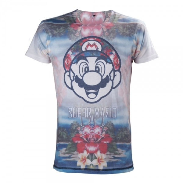 Nintendo Super Mario Bros. Tropical Mario All-Over Sublimation Small T-Shirt