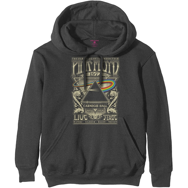 Pink Floyd - Carnegie Hall Poster Men's Large Pullover Hoodie - Charcoal Grey