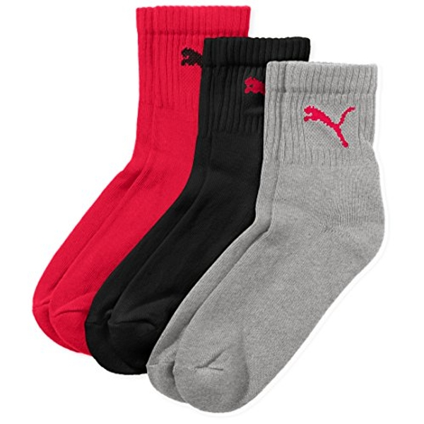 Puma Short Crew Sports Socks (Pack of 3) - Black/Red/Grey, 9-11 UK (43-46)