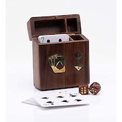 Deck of Playing Cards & Dice in Wooden Box