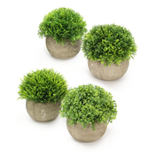 Set Of 4 Grey Artificial Plant Pots with Fake Greenery for Indoor, Office & Home Decoration | M&W
