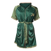 Nintendo Legend of Zelda: Breath of the Wild Logo Women's Large/Extra Large Satin Bath Robe - Green
