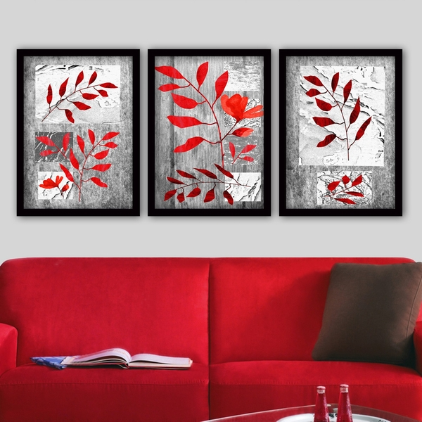 3SC135 Multicolor Decorative Framed Painting (3 Pieces)