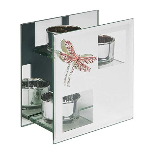 Sophia Pink Crystal Dragonfly Double Tealight Holder