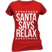 Christmas Generic - Santa Says Relax Women's Small Fitted T-Shirt - Red