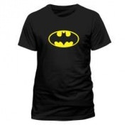 DC COMICS Batman Logo T-Shirt, Unisex, Small, Black