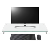 Ex-Display Glass Computer Monitor & TV Display Stand Riser | Adjustable Leg Height | Televisions, Laptops, PCs | Curved Glass Cable Tidy | M&W Large Clear Used - Like New