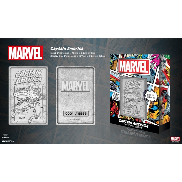 Captain America (Marvel) Silver Limited Edition Collectable Ingot