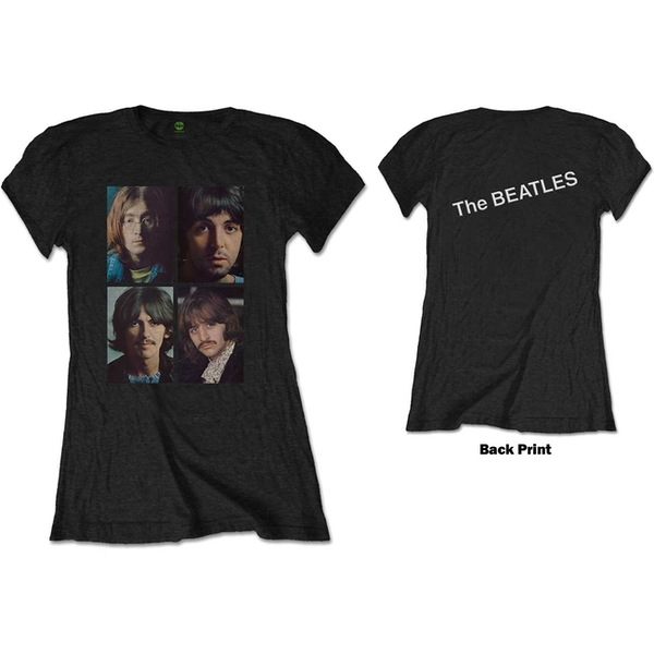 The Beatles - White Album Faces Women's Large T-Shirt - Black
