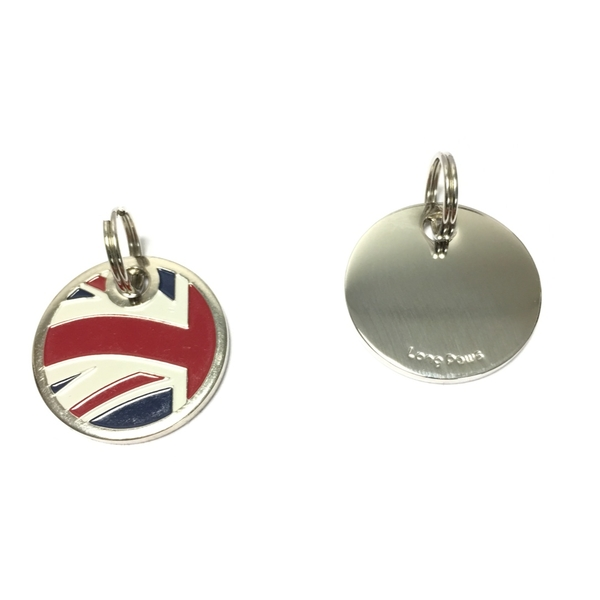 Long Paws Dog tag with a Union Jack Design