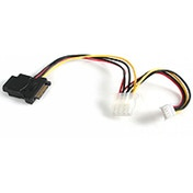StarTech Power cable Adaptor - 15 pin SATA power - 4 pin internal power, 4 pin mini-power connector