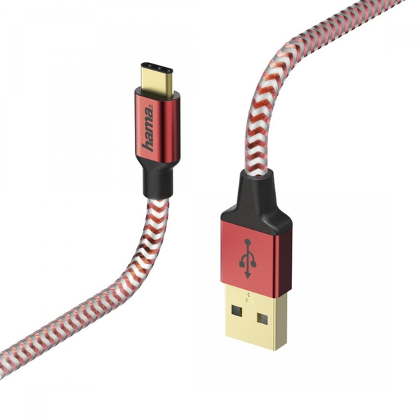 """Image of Hama """"Reflective"""" Charging/Data Cable, Micro-USB, 1.5 m, red"""