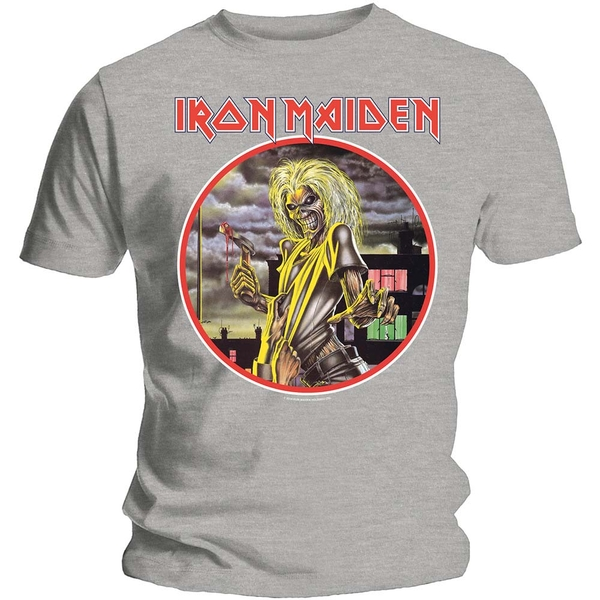 Iron Maiden - Killers Circle Unisex Large T-Shirt - Grey