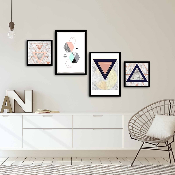 4PSCT-05 Multicolor Decorative Framed MDF Painting (4 Pieces)