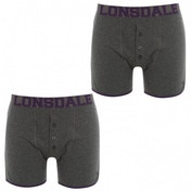 Lonsdale 2 Pack Mens Boxers Charcoal & Purple Medium