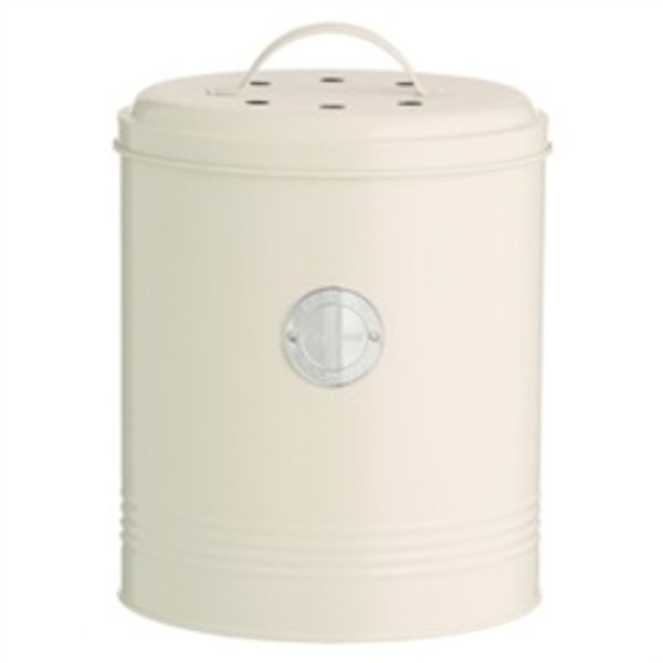 Typhoon Compost Caddy with Carbon Filters Steel 2.5 Litre Cream