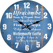 Blue Ilfracombe Theme Wall Clock