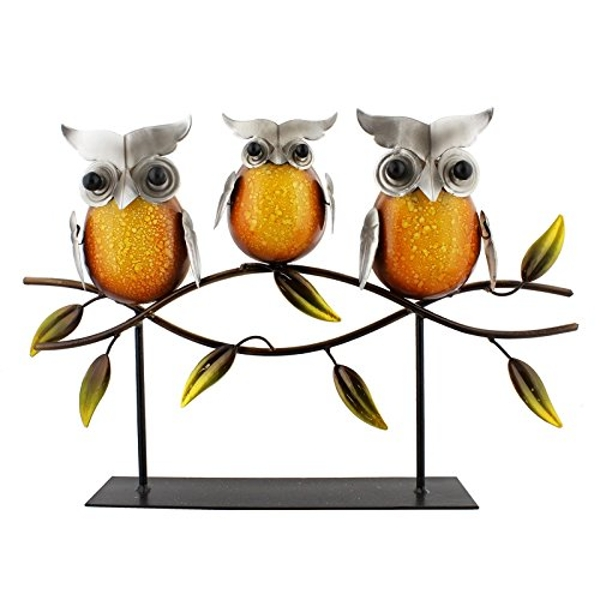 Country Living Hand Painted Metal Owls on Branch 28.5cm