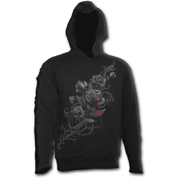 Fatal Attraction Men's X-Large Gothic Black Strap Hoodie - Black