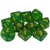 Chessex d10 Dice Set: Borealis Maple Green/Yellow (10)