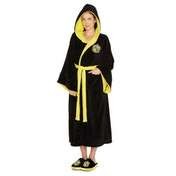 Hufflepuff Harry Potter Ladies Black Fleece Robe with Hood