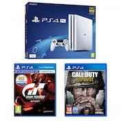 PlayStation 4 Pro (1TB) Glacier White Console + Gran Turismo Sport + Call of Duty WWII Bundle