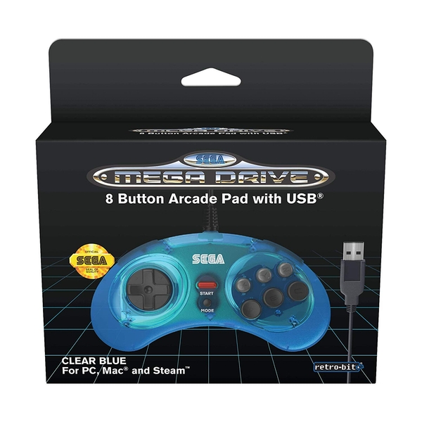 Blue 8-Button Retro-Bit Mega Drive Controller