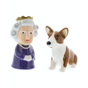 Queen and Corgi Ceramic Salt and Pepper Set