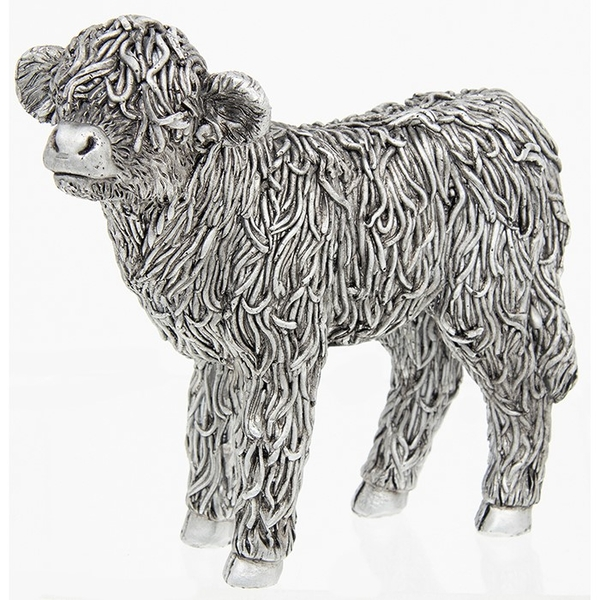 Silver Highland Coo Calf Ornament