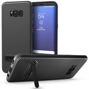 Samsung Galaxy S8 Plus Carbon Fibre Textured Gel Case with Kickstand - Black