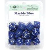 Marble Blue Poly 15 Set Dice