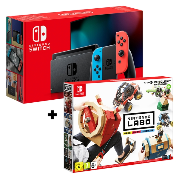 Nintendo Switch Console Neon Blue / Neon Red Joy-Con Controllers + Labo Toy-Con: Vehicle Kit