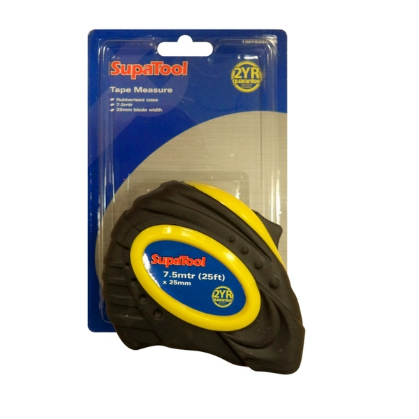 SupaTool Rubberised Tape Measure 7.5m x 25mm