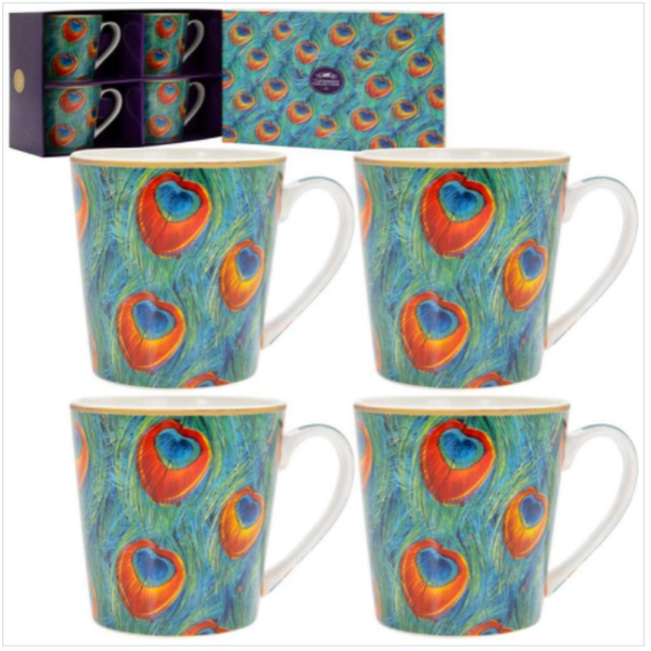 Peacock Mugs Set Of 4 By Lesser & Pavey