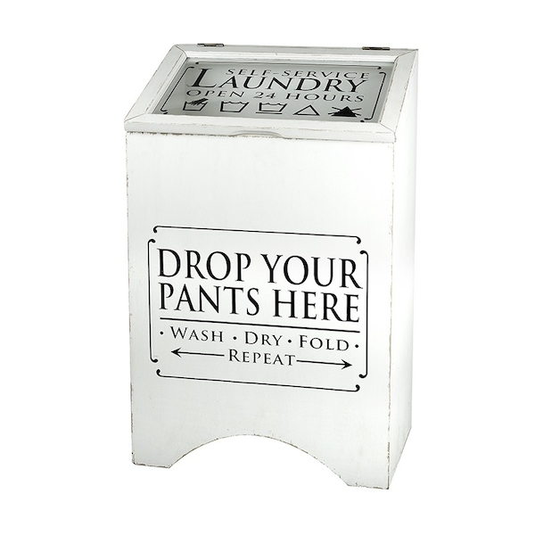 White Wooden Laundry Box by Heaven Sends