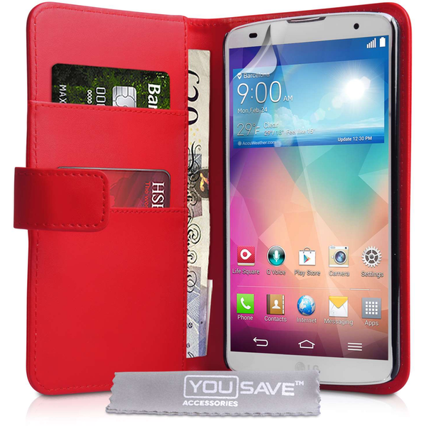 Yousave LG G2 Leather Effect Wallet Case - Red