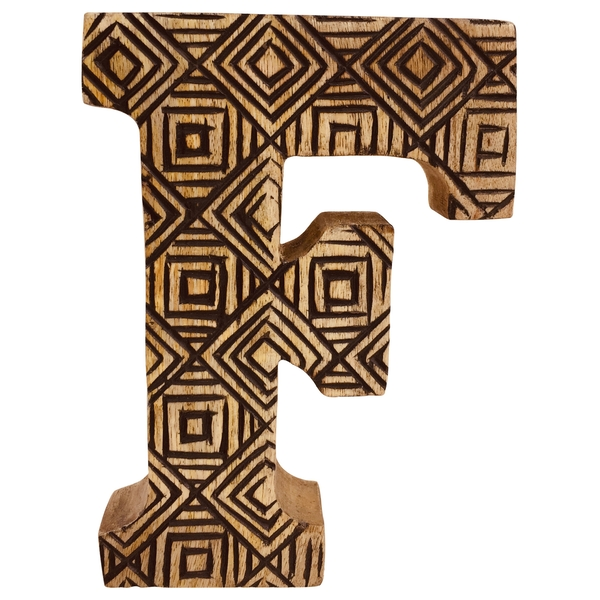 Letter F Hand Carved Wooden Geometric