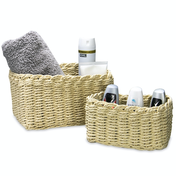 Woven Rope Storage Baskets - Set of 3 M&W Natural